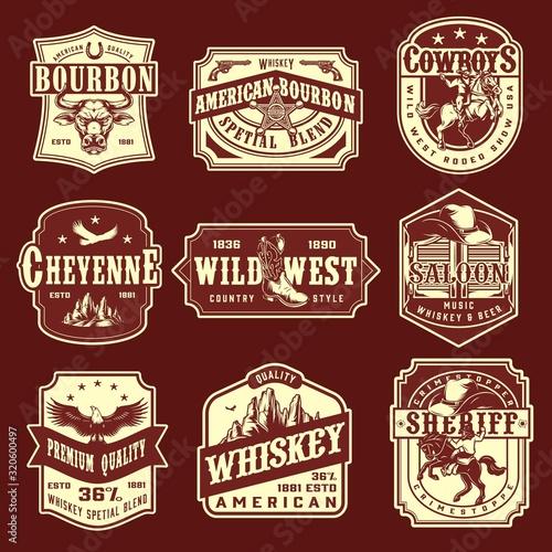 Vintage wild west monochrome emblems set Wall mural