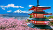 Leinwanddruck Bild - Cherry blossoms in spring, Chureito pagoda and Fuji mountain in Japan.