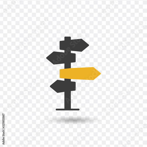 Fotografija Vector illustration, direction sign in different, destination, choice of directions, travel to different places