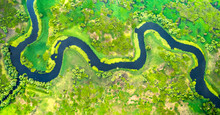 Aerial View Of Meander In The Delta
