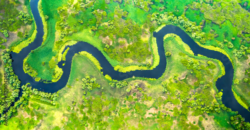 Fototapeta Aerial view of meander in the delta obraz