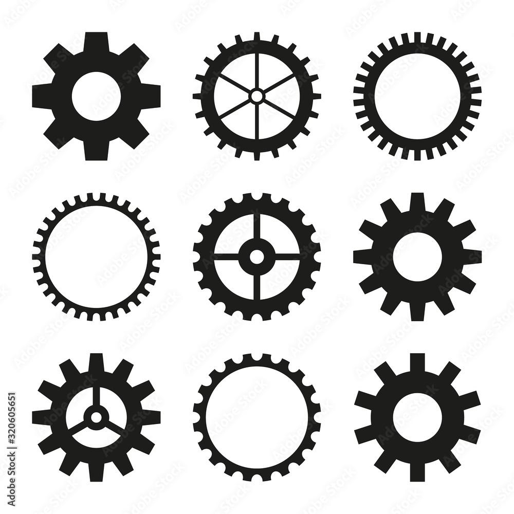 Fototapeta Set of vector icons of gear wheel, cogwheel mechanism. Black gearwheel on white background.