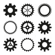 Set of vector icons of gear wheel, cogwheel mechanism. Black gearwheel on white background.