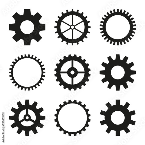 Set of vector icons of gear wheel, cogwheel mechanism Canvas Print