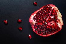Beautiful Pomegranate On Dark ...