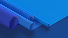 3d Illustration Of Rolled Blue...