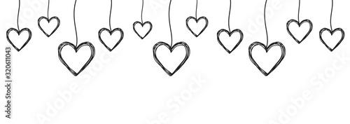 Obraz Tangled scribbled heart hanging on a string - fototapety do salonu