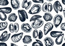 Hand Drawn Edible Marine Mollusks Seamless Pattern. Vector Package, Banner, Flyer, Menu, Recipes Design With Realistic Seafood Elements. Cooked Clams, Oysters, Cockles, Mussels Top View Background.