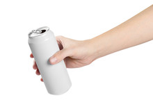 Hand Holding White Aluminium Can, Isolated On White Background