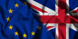 National flag of the United Kingdom with European Union (EU) flag on a waving cotton texture background