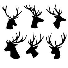Set Of A Deer Head Silhouette ...
