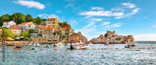 Picturesque summer view of Adriatic sea coast in Budva Riviera near Przno villag Canvas Print