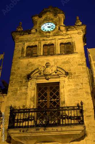 Clock-tower of Acludia during the night, Mallorca