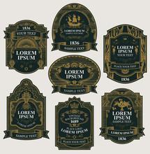 Vector Set Of Ornate Labels In...