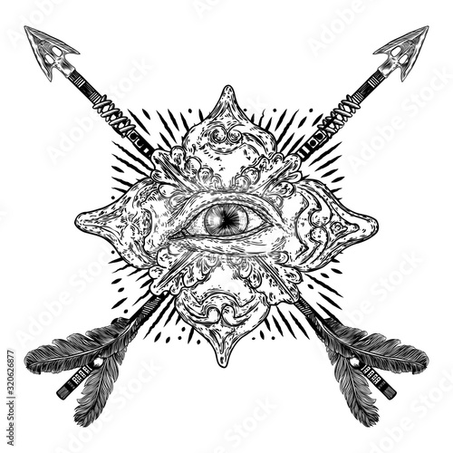 Photo All seeing eye or Eye of Providence on the decorative background and bow arrows
