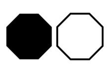 Black Octagon Icon Set Of Vect...