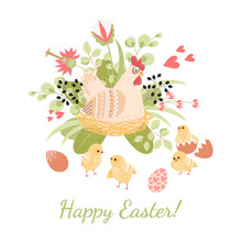 Happy Easter Card With Cute Hen, Chickens And Eggs On A Background Of Flowers And Leaves.
