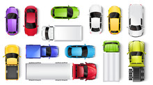 Cars And Trucks Top View Vector Illustration