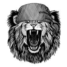 Lion. Wild Animal Wearing Pirate Bandana. Brave Sailor. Hand Drawn Image For Tattoo, Emblem, Badge, Logo, Patch