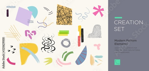Fotomural Set of abstract trendy hand drawn shapes and design elements