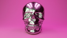A Scratched Metal Human Skull Glamorous Pink Background. 3d Illustration
