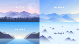 Set of 4 landscapes in flat minimalist style. Forest and mountains, arctic Alps, sunrise and hills, misty rocks. Website or game templates. Vector illustration. Tourism, adventure, travel concept