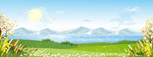 Cartoon Vector Spring Landscape With Mountain, .blue Sky And Cloud, Panorama Green Fields On Sunny Day Summer,Peaceful Nature In Springtime With Grass Land And Wild Flowers In Countryside Uk