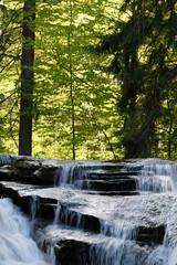 Panel Szklany Wodospad Szklarka Falls in super green forest surroundings, Karkonoski National Park, Poland
