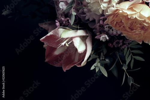 Beautiful bouquet of different flowers on black background Fototapeta