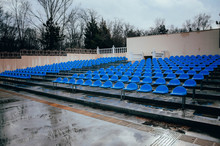 Blue Benches, Seats, In An Ope...