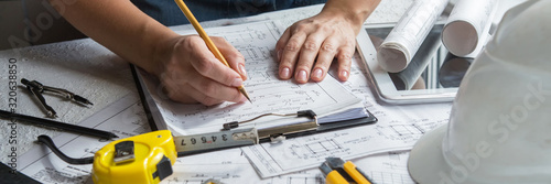 Photo Architects concept, engineer architect designer freelance work on start-up project drawing, construction plan