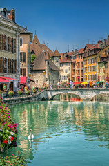 Bridge on the Canal of Beautiful Annecy, France