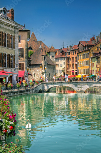 Photo Bridge on the Canal of Beautiful Annecy, France