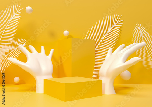 Fototapeta Palm Sculpture on yellow template, brand advertising