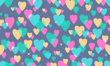 Background With Hearts, Seamless Pattern. Vector