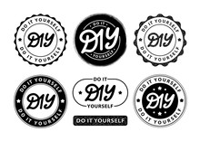 DIY Do It Yourself. Lettering Abbreviation Logo Circle Stamp Set. Vector Illustration. Round Template For Print Design Label, Badge Rubber Seal Stamp On White Background. Black Color