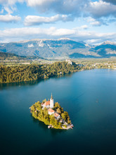 Aerial View By Drone Of Bled I...