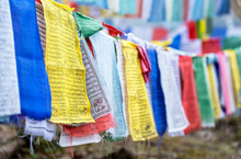 Prayer Flags Hung To Carry People's Prayers Throughout The Land Of Bhutan