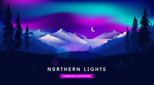 Northern Lights Landscape Illu...