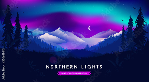 Northern lights landscape illustration - Beautiful night sky with moon and stars, view from forest over the ocean and mountains Canvas-taulu