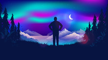 Watching The Northern Lights. Man Standing Watching The Beautiful View, Looking At The Night Sky And The Moon. Lights Are Dancing Over The Sky. Scandinavian Nature Landscape Concept.