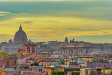 Rooftops Landscape Panorama With Traditional Low-rise Buildings And St. Peters Basilica Dome, Golden Hour Elevated View, Rome, Lazio