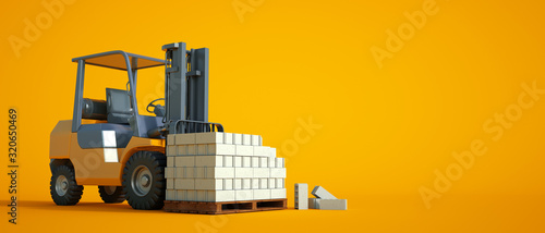 Canvastavla Forklift with cement blocks yellow