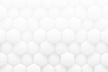 White 3D Hexagons Minimalist A...