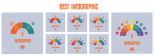 Infographics. Templates From Colourful Parts Semicircle With Text Areas On 2 3 4 5 6 7 8 9  Positions.