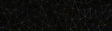 Schwarz Gold - Artdeco Glitzer Dreieck Polygone Streifen - 3D - Illustration Textur Tapete Banner Webseite Hintergrund Panorama 4k Breitbild