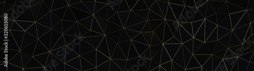Obraz na plátne Schwarz Gold - Artdeco Gitzer Dreieck Polygone Streifen - 3D - Illustration Text