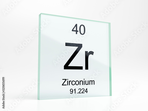 Fotografia, Obraz Zirconium element symbol from periodic table on glass icon - realistic 3D render