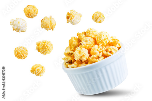 Salt cheese popcorn on a white isolated background