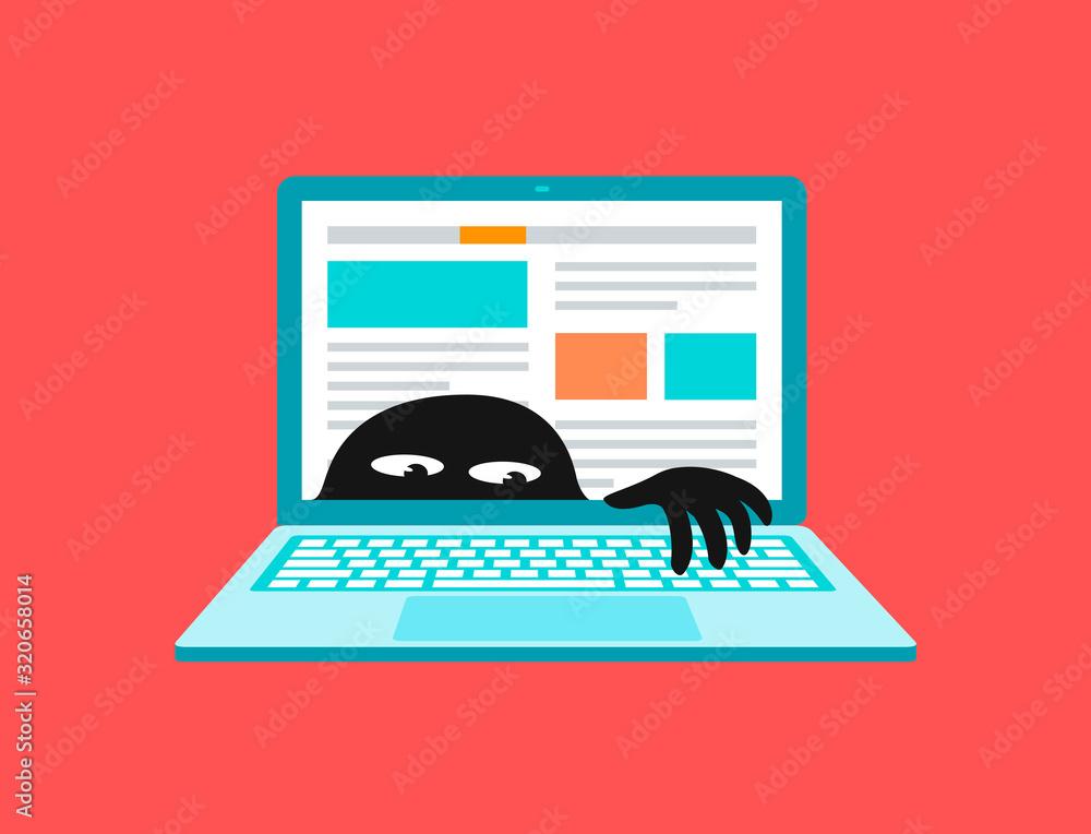 Fototapeta Virus on laptop, malware or network vulnerability vector